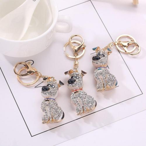 Dog Rhinestone Tassel Key Chain Pendant