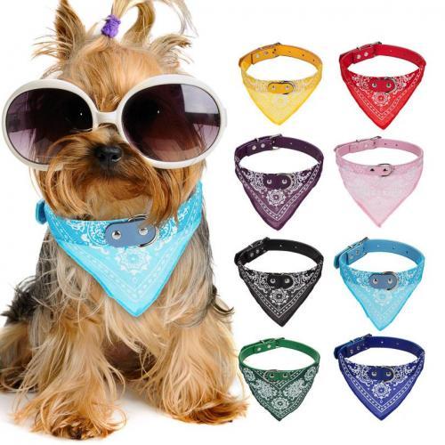 Adjustable Flower Printed Dog Collar Bandanna
