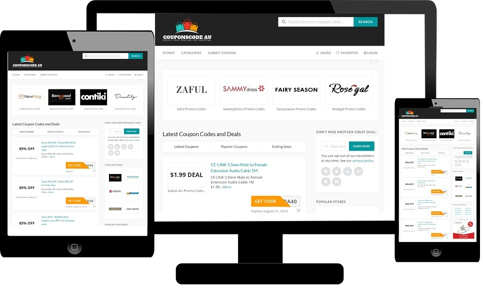 website on different screens