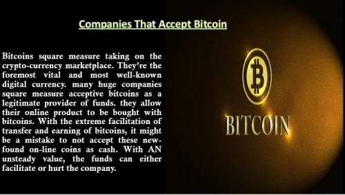 Companies That Accept Bitcoin