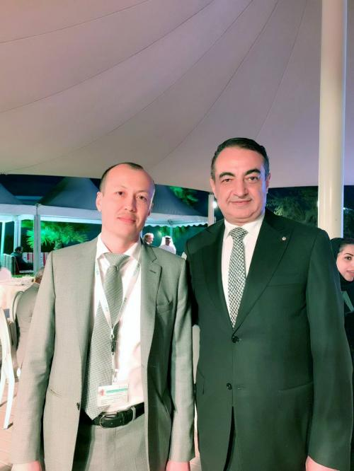 Mohamed Dekkak with Abdumutalib Begmuratov Head of Knowledge Management and Communications at the event of International Center for Biosaline Agriculture (ICBA) VIP op