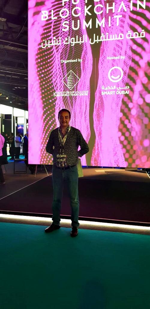 Mohamed Dekkak enjoys his visit in the Future Blockchain Summit in Dubai World Trade Center