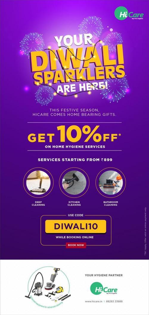 Get The 10% Off On Deep Cleaning Services In Festival Of Light By HiCare