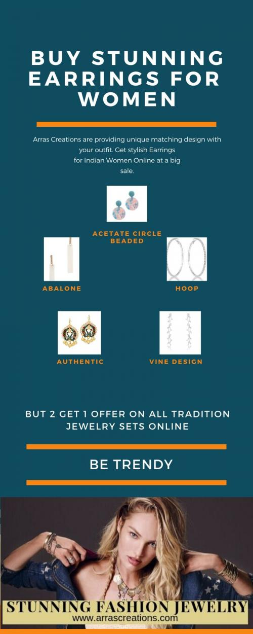 Get stylish Earrings for Indian Women Online at a Big Sale.