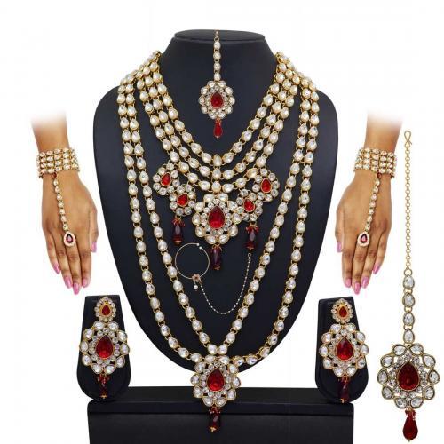 Red Kundan Polki Wedding Necklace