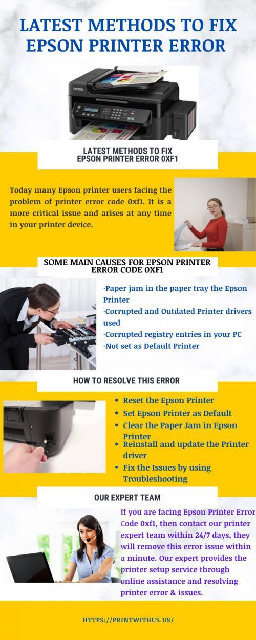 Latest Methods to Fix Epson Printer Error 0xf1