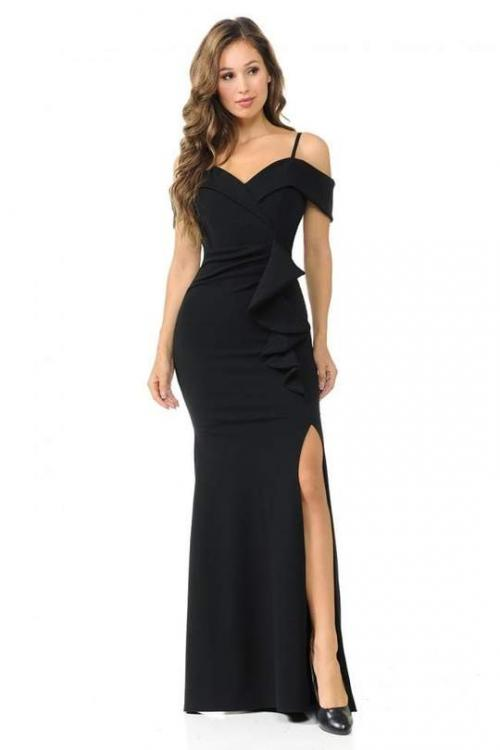 Lenovia - 5206 Ruffle Detailed Off-Shoulder Trumpet Dress – Couture Candy