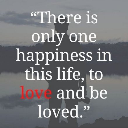 """""""There is only one happiness in this life, to love and be loved."""""""