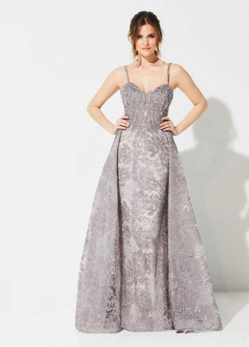 IVONNE D FOR MON CHERI - 219D71 EMBROIDERED GOWN WITH DETACHABLE TRAIN
