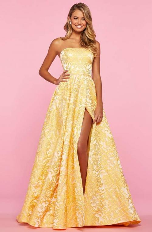 Sherri Hill - 53379 Strapless Brocade A-line Gown With Slit