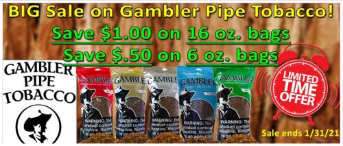 Big Sale on Gambler Pipe Tobacco