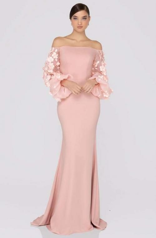 TERANI COUTURE - 1911E9128 OFFSHOULDER FLORAL ACCENT PUFF SLEEVES GOWN