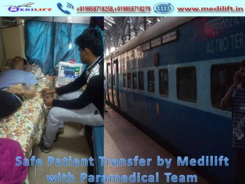 Obtain Medilift Life-Support Train Ambulance from Patna with Medical Facility