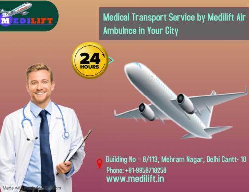 Medilift Air Ambulance Delhi with ICU Support
