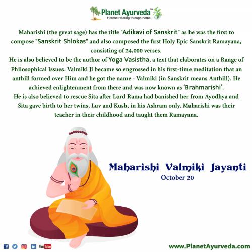 Maharishi Valmiki Jayanti - Wednesday, 20 October